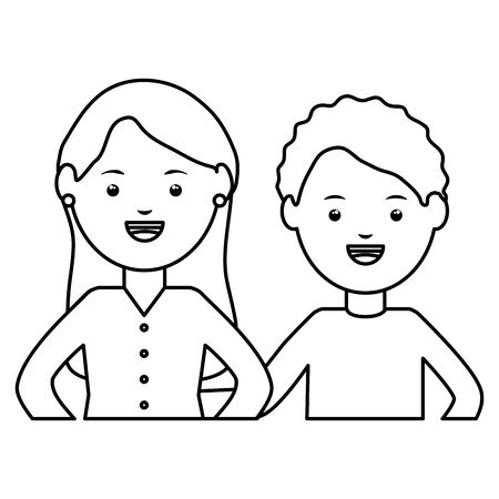 young teachers couple education characters vector illustration design Ilustração