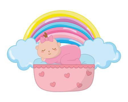 Bébé dort dans un berceau avec arc avec nuages et arc-en-ciel vector illustration graphic design