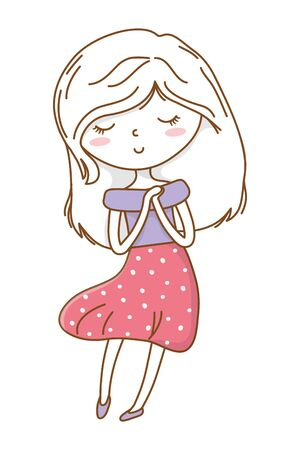 Cute girl cartoon stylish hairstyle nice outfit clothes blushing dress hopeful isolated vector illustration graphic design 写真素材 - 130448240