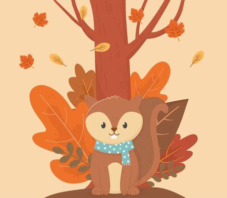 cute animal hello autumn season design
