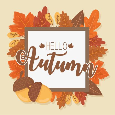 hello autumn banner season design Archivio Fotografico - 130530868