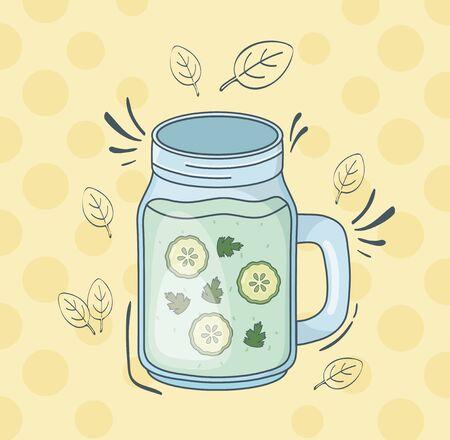 cucumber juice jar healthy drink vector illustration design