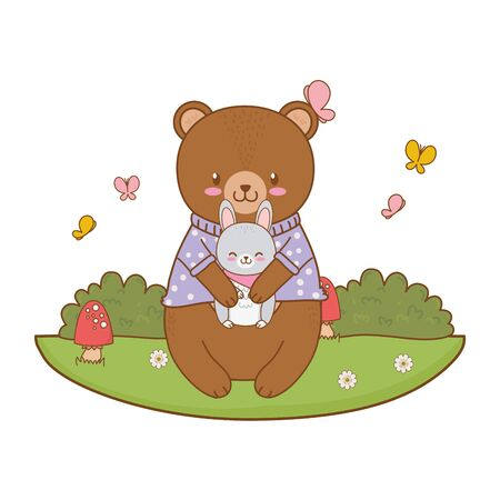 cute bear and rabbit in the field woodland character