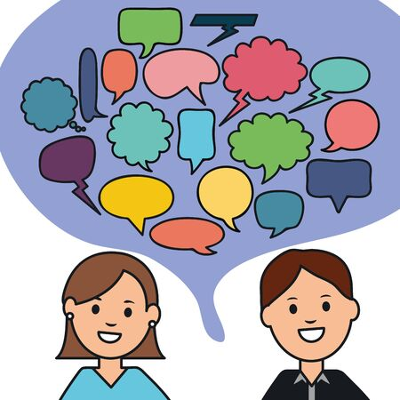 young couple with speech bubbles Stock Illustratie