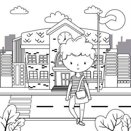Teenager boy cartoon design vector illustrator Çizim