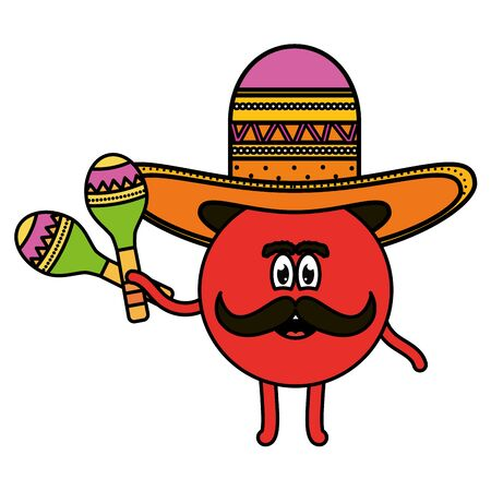 mexican emoji with hat and maracas character Stock Illustratie