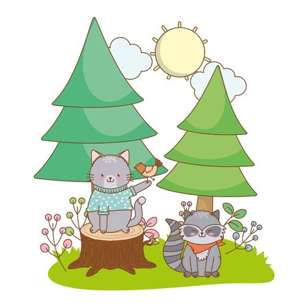 cute little animal cat with raccoon and bird cartoon vector illustration graphic design