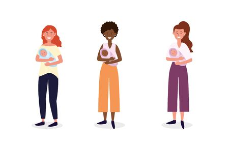 set women mother with their babies son vector illustration