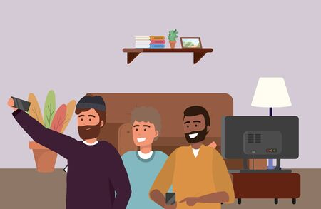Millennial group smartphone taking selfie indoors room furniture television afro bearded background vector illustration graphic design Illusztráció