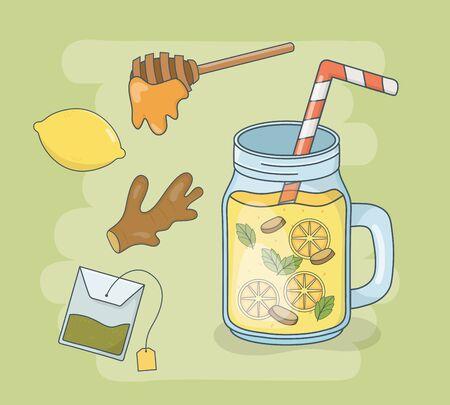 honey and orange juice jar with straw vector illustration design Çizim