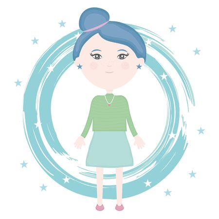 cute little girl with paint and stars pattern vector illustration design Illustration