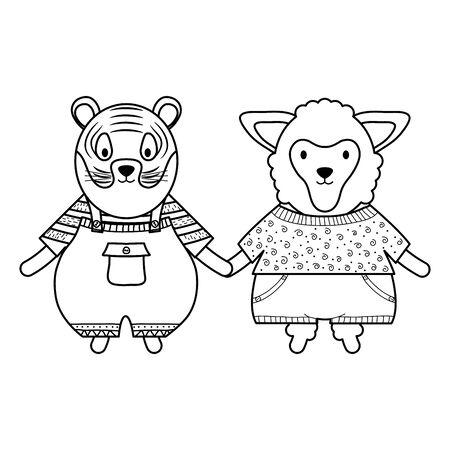 cute sheep and tiger with umbrella vector illustration design Çizim