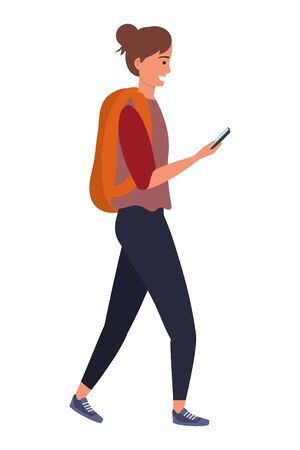 Millennial young student smiling using smartphone texting backpack hair bun isolated Ilustrace