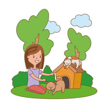 childhood happy child girl with cute little pets animals at outdoor scene cartoon vector illustration graphic design