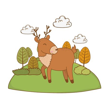 cute reindeer in the field woodland character vector illustration design