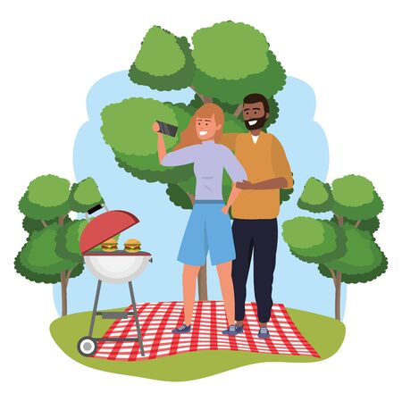 Millennial couple picnic date using smartphone taking selfie smiling posing afro redhead shorts redhead splash frame nature background vector illustration graphic design