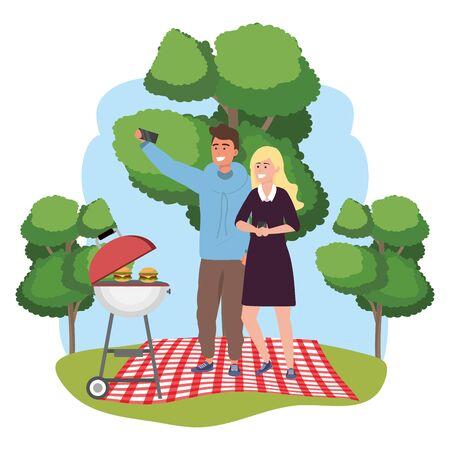 Millennial couple picnic date using smartphone taking selfie smiling posing hoodie dress splash frame nature background vector illustration graphic design