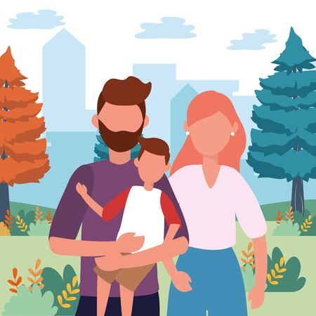 casual happy people couple family portrait landscape view nature outdoor scene cartoon vector illustration graphic design Standard-Bild - 130601678
