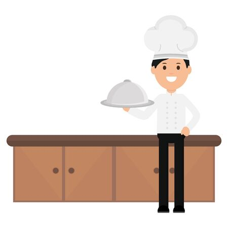 young chef with tray server vector illustration design