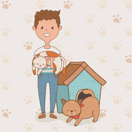 young man with cute dog and cat mascots vector illustration design