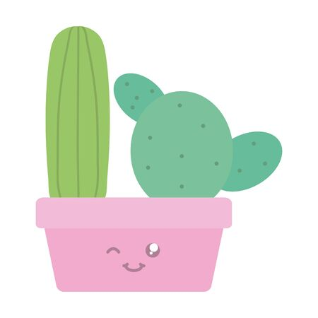 exotic cactus plants in square ceramic pot kawaii characters vector illustration