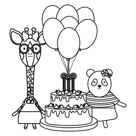 cute sheep and giraffe with panda in birthday party Foto de archivo - 130605625