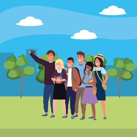 Millennials friends group taking selfie