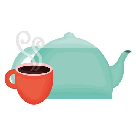 kitchen teapot with coffee cup vector illustration design