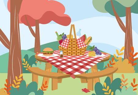 hamper with wine bottle and bread with hamburger to picnic relaxation vector illustration