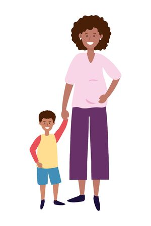 pregnant woman with child avatar cartoon character vector illustration graphic design Çizim