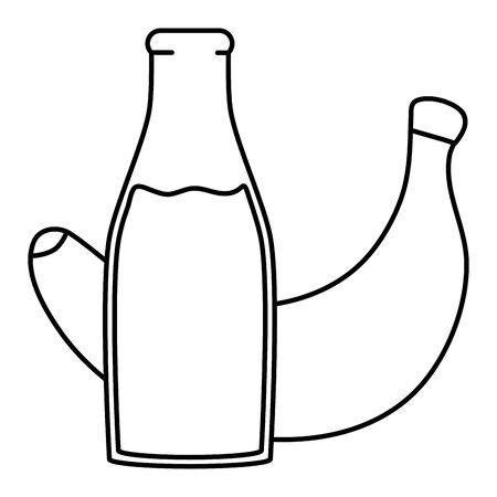 fresh banana juice fruit in botttle vector illustration design