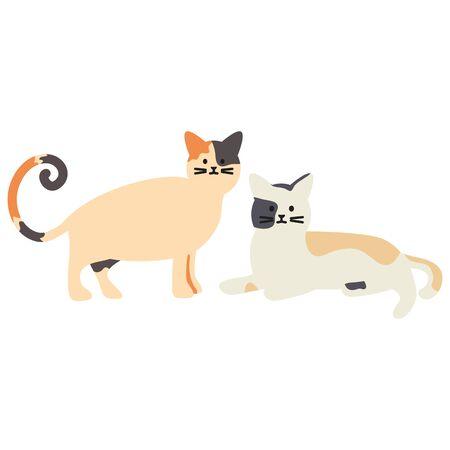 cute cats mascots adorables characters vector illustration design