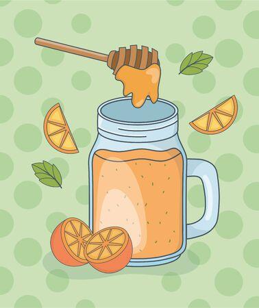 orange and honey juice jar vector illustration design Çizim