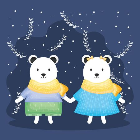cute couple bears polar with clothes characters vector illustration design Illustration