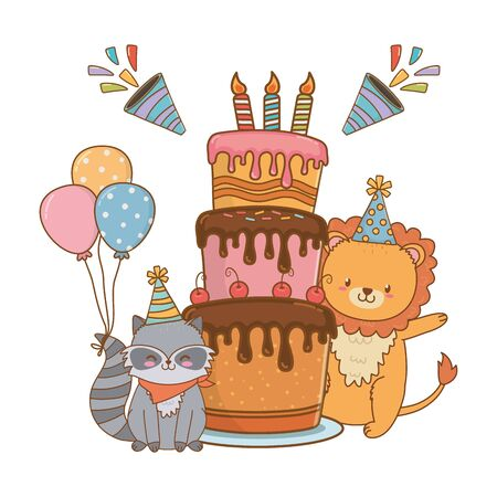 cute little animals at birthday party festive scene cartoon vector illustration graphic design Stock Illustratie