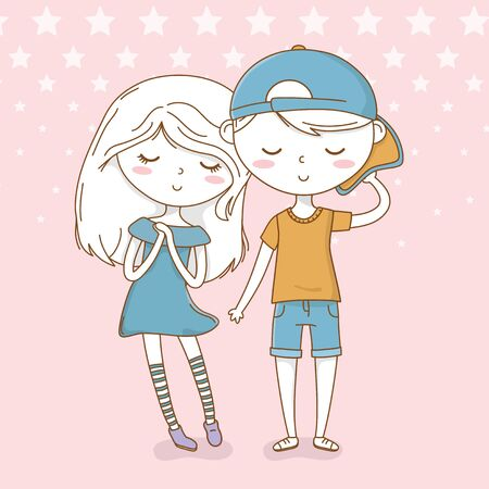 beautiful little kids couple with dotted background vector illustration design Ilustracja