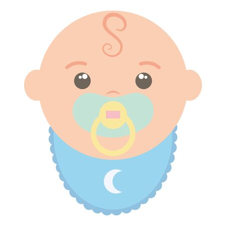 cute little baby boy with pacifier vector illustration design