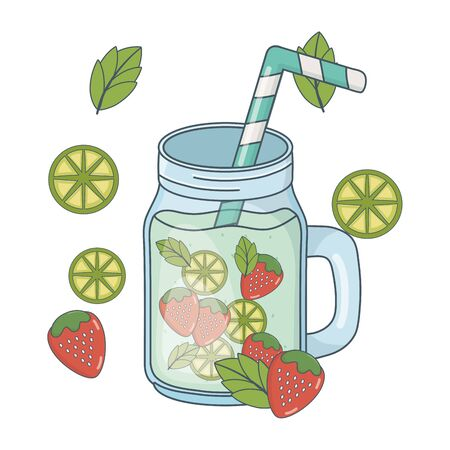 delicious healthy meal juice with fruits mix cartoon vector illustration graphic design Çizim