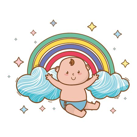baby shower happy baby between clouds, rainbow and stars cartoon card isolated vector illustration graphic design