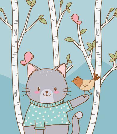 cute cat with bird woodland character Stock Illustratie
