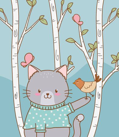 cute cat with bird woodland character Illustration