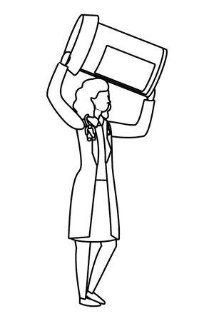 healthcare medical doctor woman holding pills bottle cartoon vector illustration graphic design