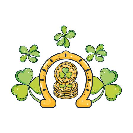 clovers leafs and horseshoe saint patrick celebration vector illustration design 向量圖像