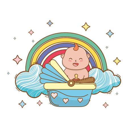 baby shower happy baby in basket between clouds, rainbow and stars cartoon card isolated vector illustration graphic design