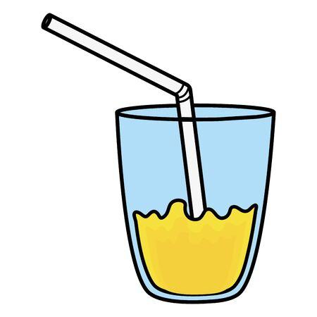 glass with juice fruit and straw Çizim