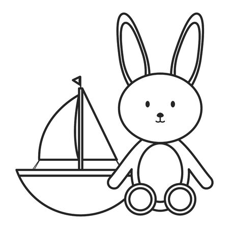 stuffed bunny and sailboat toy entertainment Banque d'images - 130692699