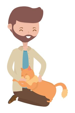 Boy with cat cartoon design Stock Illustratie