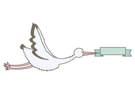 stork bird flying with ribbon frame vector illustration design Standard-Bild - 130651465
