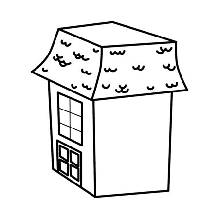 rickety house trick or treat happy halloween vector illustration line design