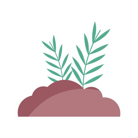 bush leaves branch nature icon vector illustration 向量圖像